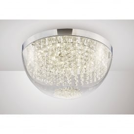 Harper LED Large Flush Ceiling Fitting In Polished Chrome And Crystal Finish