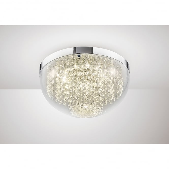 Diyas Harper LED Medium Flush Ceiling Fitting In Polished Chrome And Crystal Finish