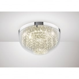 Harper LED Medium Flush Ceiling Fitting In Polished Chrome And Crystal Finish