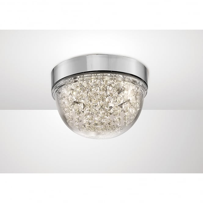 Diyas Harper LED Small Flush Ceiling Fitting In Polished Chrome And Crystal Finish