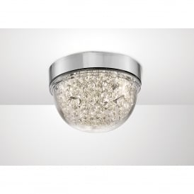 Harper LED Small Flush Ceiling Fitting In Polished Chrome And Crystal Finish