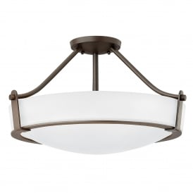 Hathaway 4 Light Medium Semi Flush Ceiling Fitting in Old Bronze Finish