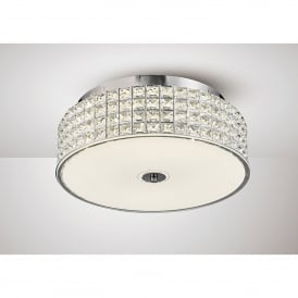 Hawthorne LED Large Flush Ceiling Fitting In Polished Chrome And Crystal Finish