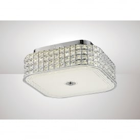 Hawthorne LED Large Flush Square Ceiling Fitting In Polished Chrome And Crystal Finish