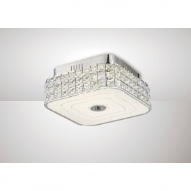 Hawthorne LED Small Flush Square Ceiling Fitting In Polished Chrome And Crystal Finish