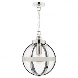 Heath Single Light Ceiling Pendant in Polished Nickel Finish with Glass