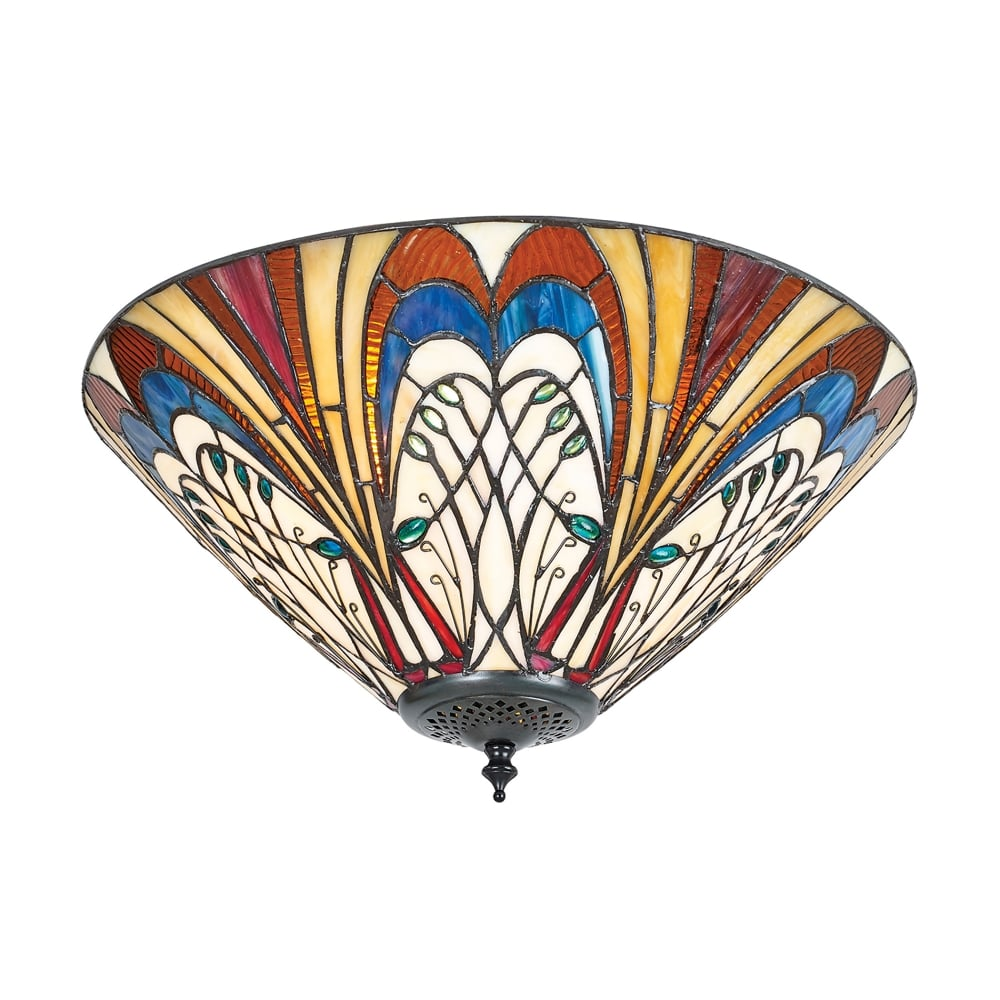Interiors 1900 Hector 2 Light Tiffany Style Flush Ceiling Fitting With Art No