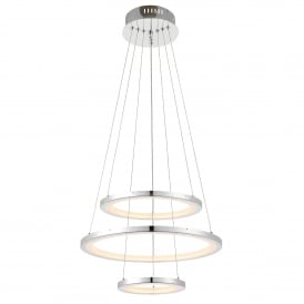 Hemsworth 3 LED Dimmable Ring Pendant in Chrome Plated Finish and Frosted Acrylic