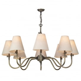 Hicks 8 Light Chandelier in Antique Brass with Linen Shades