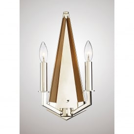 Hilton 2 Light Wall Fitting In Polished Nickel And Taupe Wood Finish