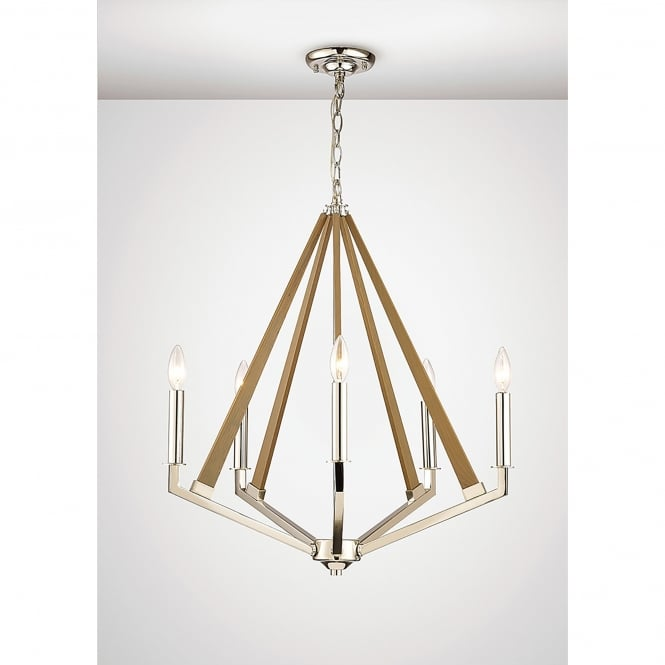 Diyas Hilton 5 Light Ceiling Pendant In Polished Nickel And Taupe Wood Finish