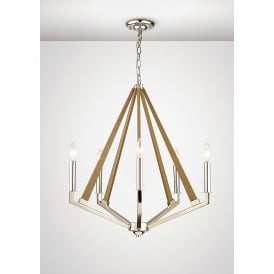 Hilton 5 Light Ceiling Pendant In Polished Nickel And Taupe Wood Finish