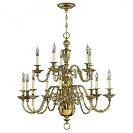 Hinkley Cambridge 15 Light Chandelier in Burnished Brass Finish