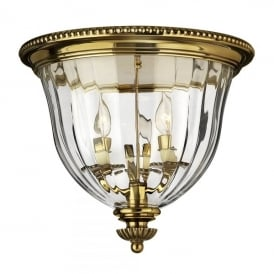 Hinkley Cambridge 3 Light Flush Ceiling Light in Burnished Brass Finish