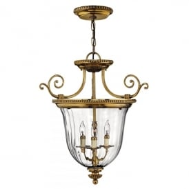 Hinkley Cambridge 3 Light Small Ceiling Pendant in Burnished Brass Finish