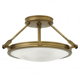Hinkley Collier 3 Light Semi Flush Ceiling Fitting In Herritage Brass Finish With Opal Glass Shade