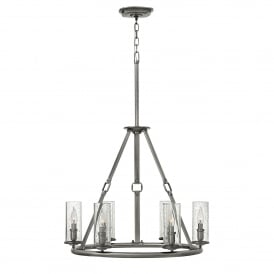 Hinkley Dakota 6 Light Ceiling Pendant in Polished Antique Nickel Finish With Faux Leather Detail