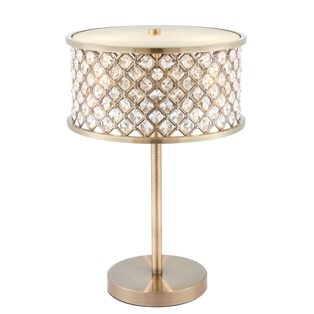 Endon lighting hudson 2 light table lamp in antique brass finish lighting type from castlegate - Table lamp types ...