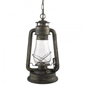 Hurricane Single Light Lantern Pendant In Black Gold Finish With Clear Funnel Glass