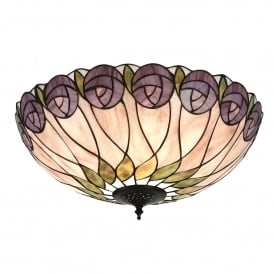 Hutchinson 2 Light Flush Ceiling Fitting In Bronze Finish With Tiffany Style Glass Shade