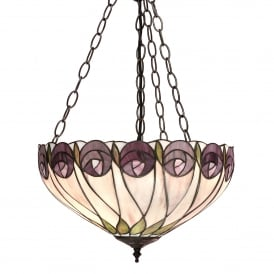 Hutchinson 3 Light Medium Ceiling Pendant In Bronze Finish With Tiffany Style Glass Shade