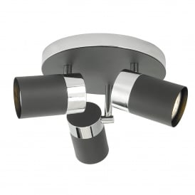 Ibsen 3 Light Ceiling Spot Fitting in Black and Polished Chrome Finish