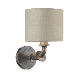 Icarus Single Light Resin Wall Fitting In Steel Finish with 100% Silk Linen Grey Shade