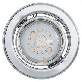 Igoa Single Light LED Recessed Ceiling Downlight In Polished Chrome Finish With Adjustable Lamp Head