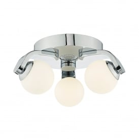 Iker 3 LED Flush Bathroom Fitting in Polished Chrome Finish with 4w Bluetooth Speaker