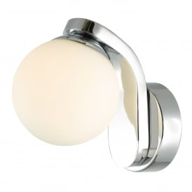 Iker Single LED Bathroom Wall Fitting in Polished Chrome Finish with Opal Glass Shade