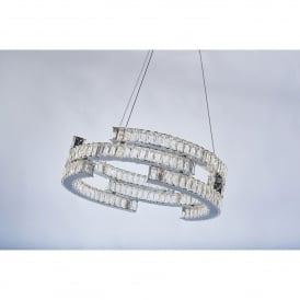 Carousel 3 Light Tiered Dimmable LED Ceiling Pendant in Polished Chrome and Crystal Finish