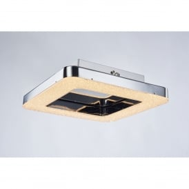 Cerchio Square Single Light LED Flush Ceiling Fitting in Polished Chrome and Crystal Finish