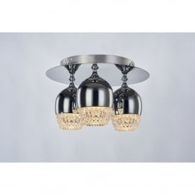Chalice 3 Light LED Dimmable Flush Ceiling Fitting in Polished Chrome Finish