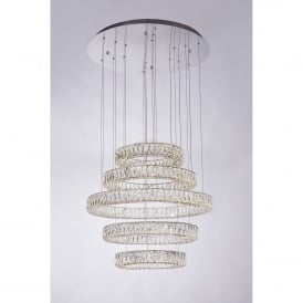 Crystal Ring 5 LED Dimmable Ceiling Pendant in Polished Chrome and Crystal Finish