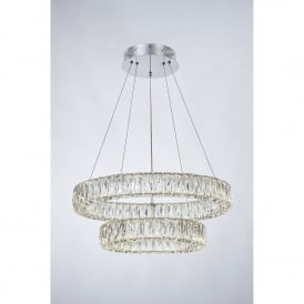 Crystal Ring Double LED Dimmable Ceiling Pendant in Polished Chrome and Crystal Finish