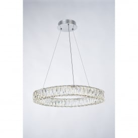 Crystal Ring Single LED Dimmable Ceiling Pendant in Polished Chrome and Crystal Finish