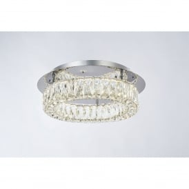 Crystal Ring Single Light LED Dimmable Flush Ceiling Fitting in Polished Chrome and Crystal Finish