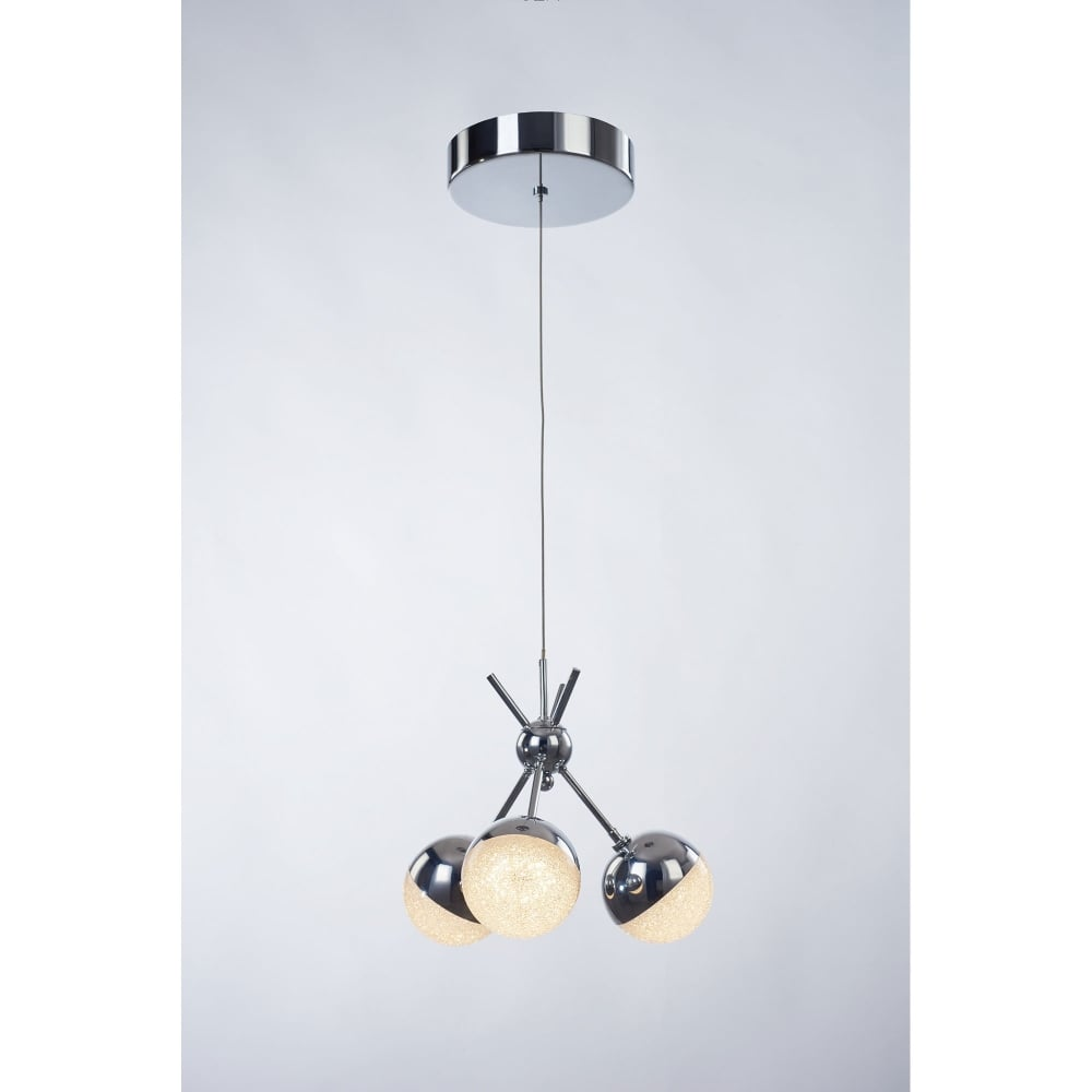 illuminati eclipse 3 light led dimmable cluster pendant in polished