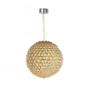 Milano 5 Light Medium Ceiling Pendant In Gold And Clear Crystal Finish