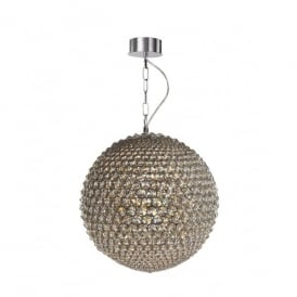 Milano 5 Light Medium Ceiling Pendant In Polished Chrome And Clear Crystal Finish