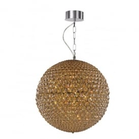 Milano 9 Light Large Ceiling Pendant In Polished Chrome And Champagne Crystal Finish
