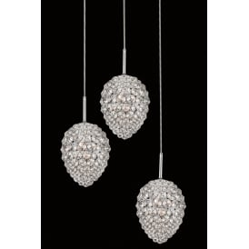 Olivio 3 Light Round Ceiling Pendant in Polished Chrome and Crystal Finish