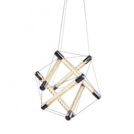 Spiro 6 Light LED Ceiling Pendant In Polished Chrome And Clear Glass Finish With Amber Tint