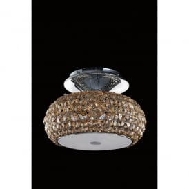 Star 3 Light Flush Ceiling Fitting In Polished Chrome And Champagne Crystal Finish