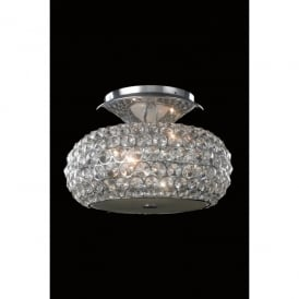 Star 3 Light Flush Ceiling Fitting In Polished Chrome And Clear Crystal Finish
