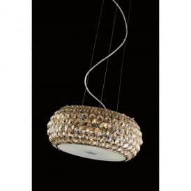 Star 3 Light Large Ceiling Pendant In Polished Chrome And Champagne Crystal Finish
