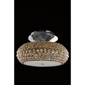 Star 6 Light Flush Ceiling Fitting In Polished Chrome And Champagne Crystal Finish