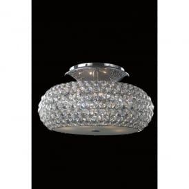 Star 6 Light Flush Ceiling Fitting In Polished Chrome And Clear Crystal Finish