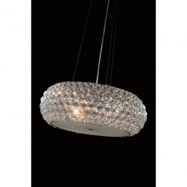 Star 6 Light Large Ceiling Pendant In Polished Chrome And Clear Crystal Finish