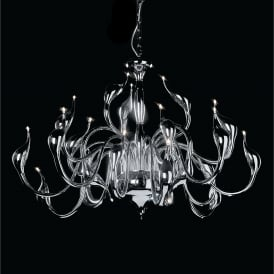 Swan 24 Light Low Voltage Halogen Multi Arm Ceiling Pendant in Polished Chrome Finish